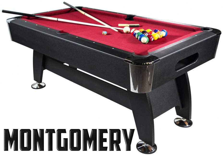 Billard Americain 6FT noir tapis rouge Montgomery