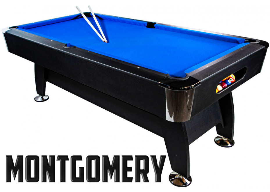 Billard Americain 7FT noir tapis bleu Montgomery