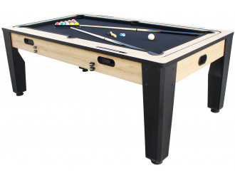 Table multi jeux 7FT industrielle convertible billard hockey bois clair