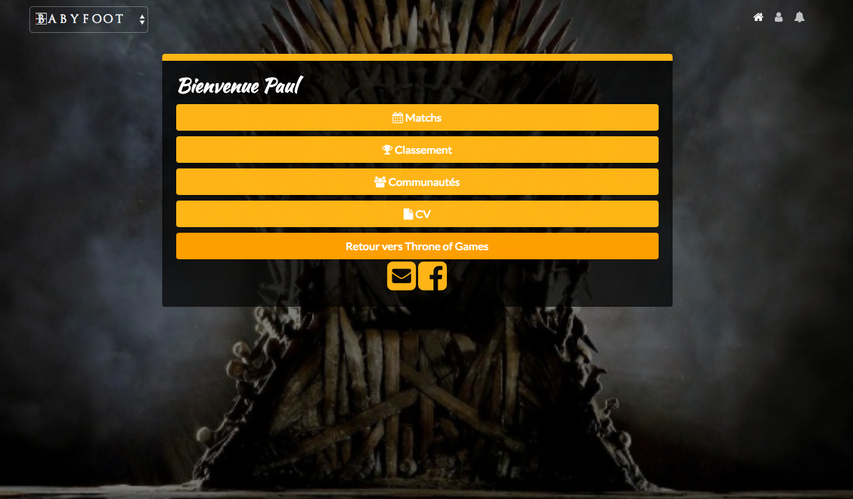 Throne of games classement baby foot